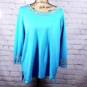 Bob Mackie blue blouse size 1X